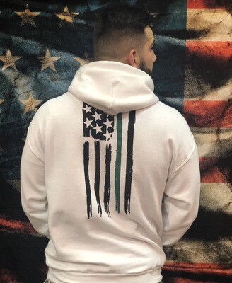 Green Line Hoodie White