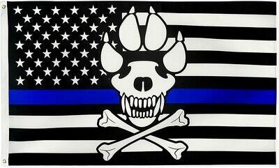 Flags 3X5 Specialty Blue Line K9 Skull