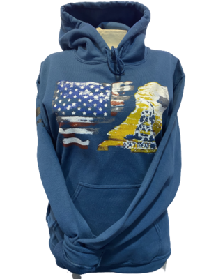 USA and Gadsden Split Flag Hoodie Blue