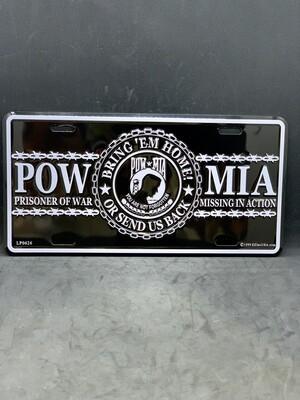 Black/White POW/MIA License Plate