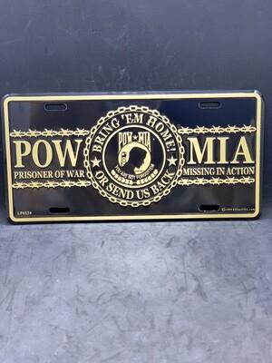 Gold/Black POW/MIA License Plate