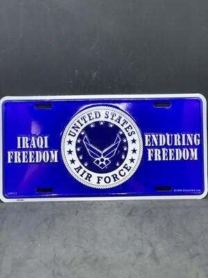 USAF Iraqi Freedom License Plate