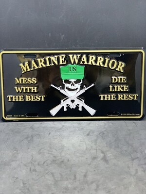 U.S. Marine Warrior Skull License Plate