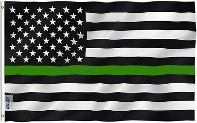 Flags 3X5 Green Line w/US flag