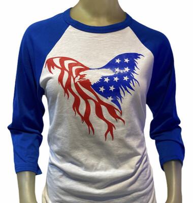American Flag Eagle Baseball Shirt
