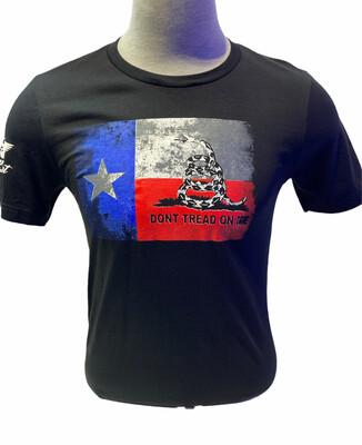 Gadsden and Texas Split Flag S/S Black