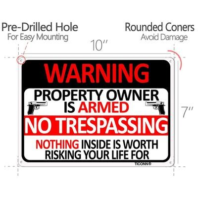 Metal Sign 10X7 Warning Armed