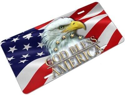 God Bless America w/Eagle License Plate