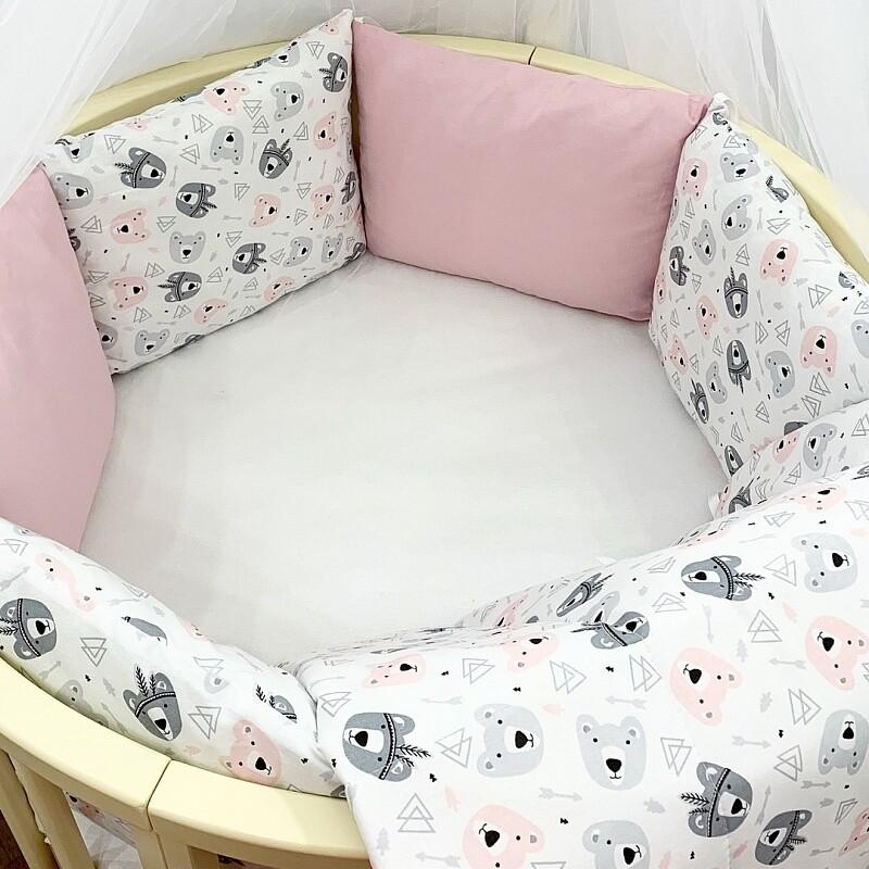 Постелнина ,,Розеви мечиња'' за креветче трансформер 8во1
