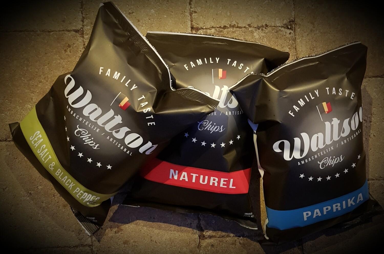Droge voeding: Walton chips 3 stuks (naturel/paprika/sea salt & black pepper