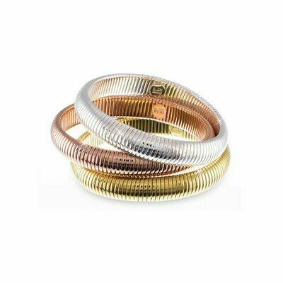 Bracciale Unoaerre rigido a tre cerchi rosè, argentato e dorato