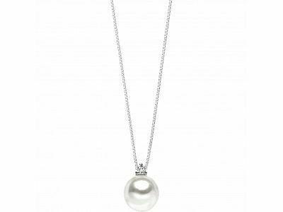 GIROCOLLO in oro con perla Akoya diam. 7,5 e diamante kt. 0.02