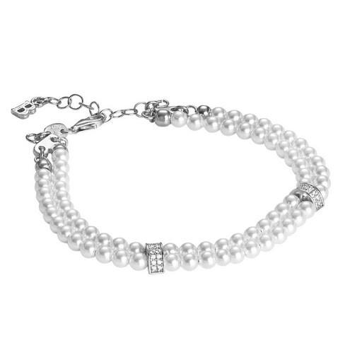 Bracciale Boccadamo in argento con zirconi e perle Swarovski
