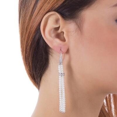 Orecchini Boccadamo in argento con zirconi e perle bianche Swarovski