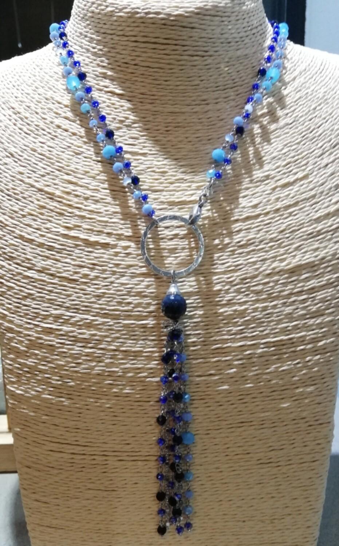 Girocollo/collana lunga argento e agata mix blu