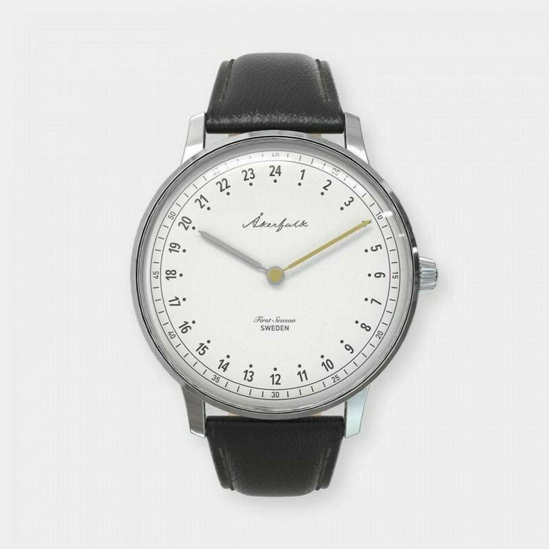 Orologio Akerfalk cinturino in vera pelle nera, quadrante bianco/silver