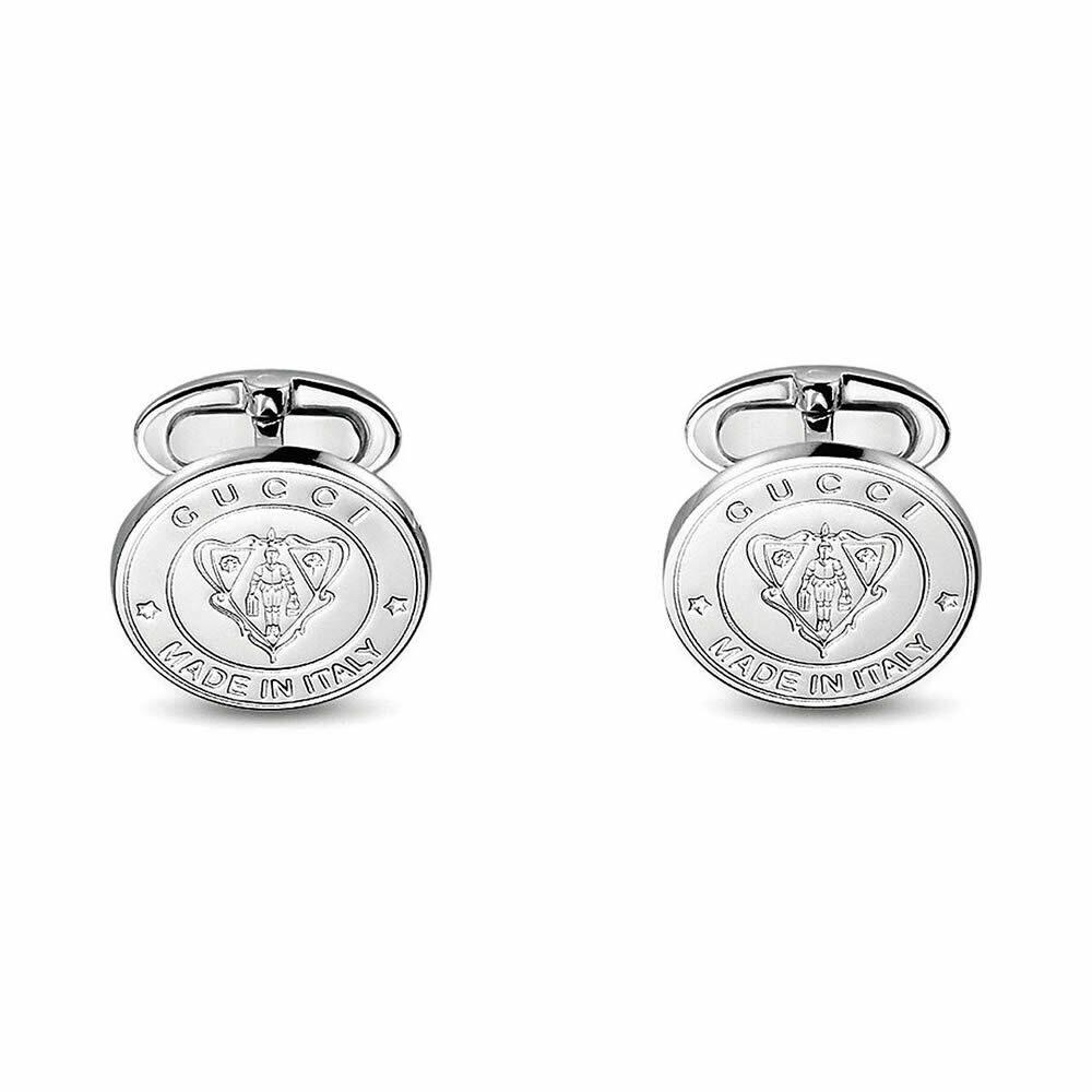 Gemelli rotondi in argento con stemma Gucci inciso