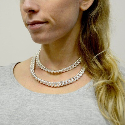 Collana lunga Unoaerre grumetta in bronzo rodiato