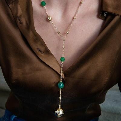 Collana Unoaerre in bronzo dorato con agata verde