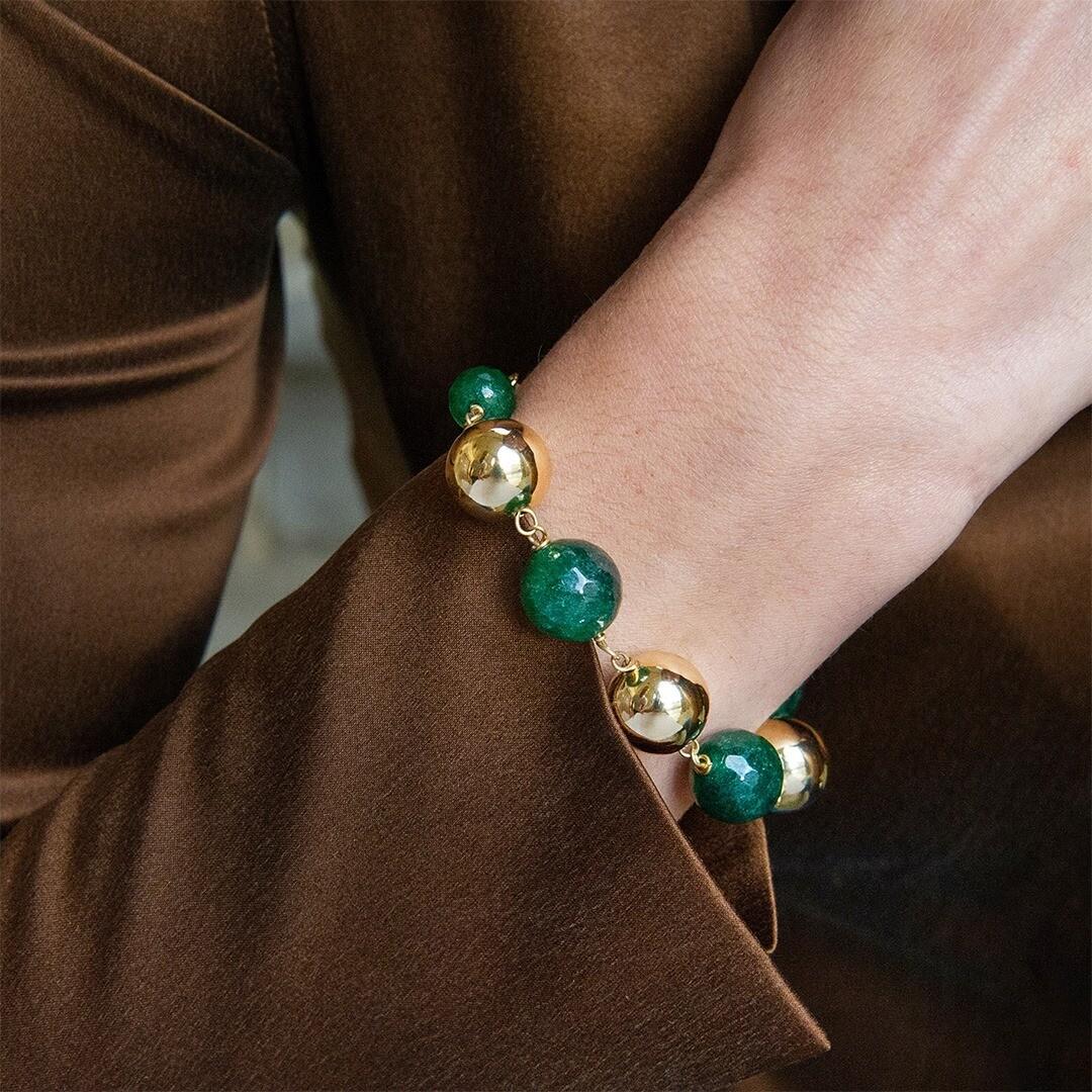 Bracciale Unoaerre con sfere in bronzo e agata verde