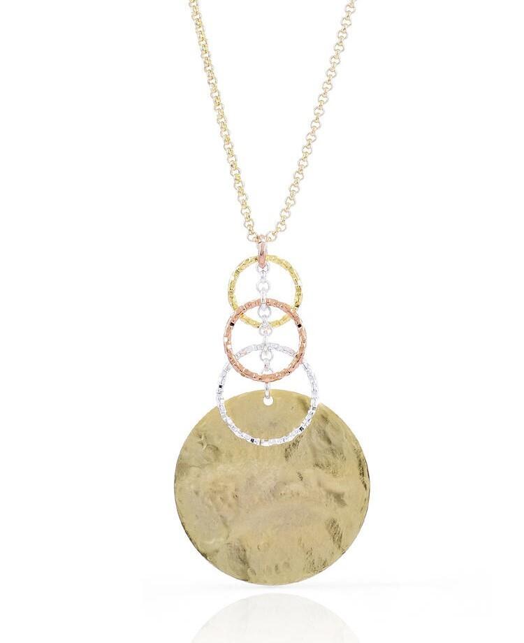 Collana da donna Unoaerre in bronzo con pendente tre colori