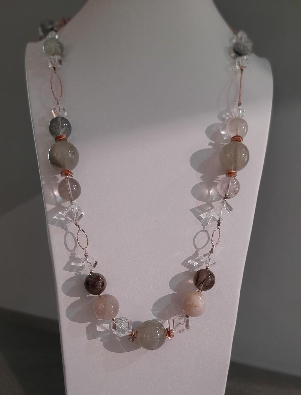 Collana lunga in argento rosè con quarzo mix color