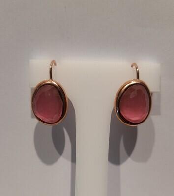 Orecchini, Labriola, in oro rosa e quarzo fucsia