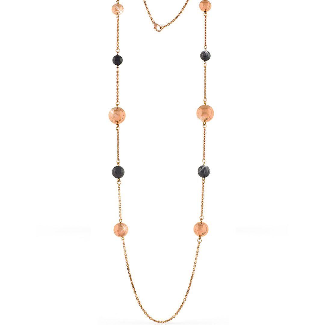 Collana lunga Unoaerre in bronzo dorato rosa con sfere nere