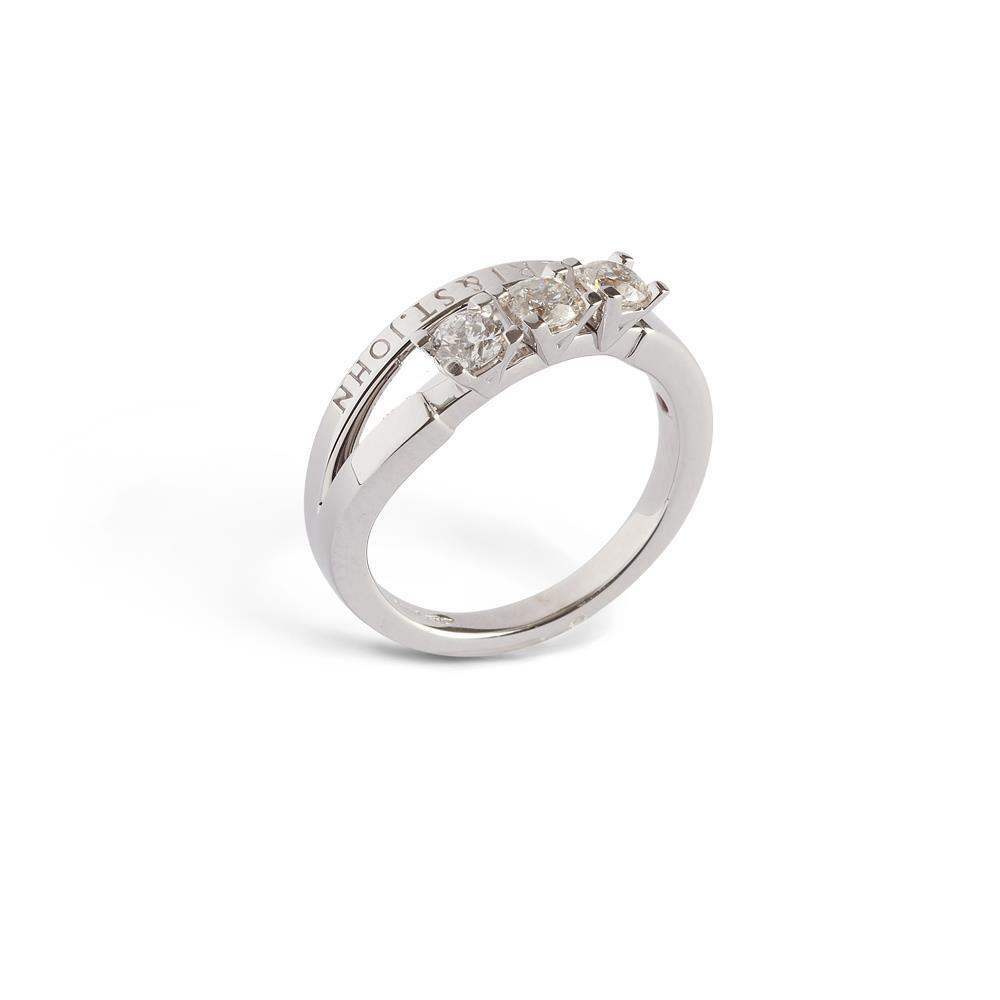 Anello Trilogy Alfieri & St. John in oro bianco con diamante