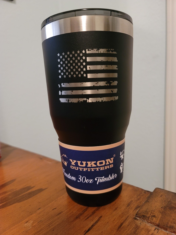 30 OZ Tumbler- Black w/Silver- American Flag