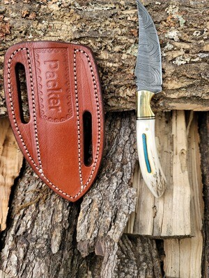 Barto Skinner Damascus Steel with Inlayed Turquoise