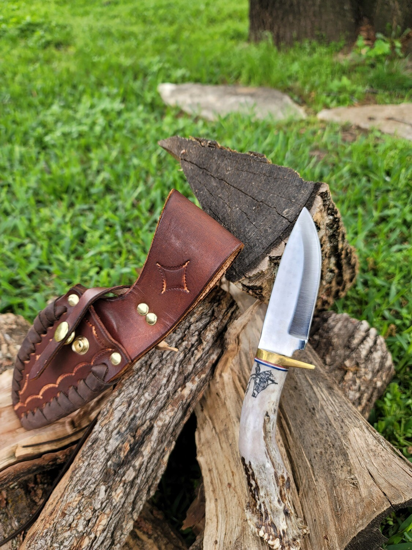 "10"" Ken Richardson Antler Handle Knife with Sheath"