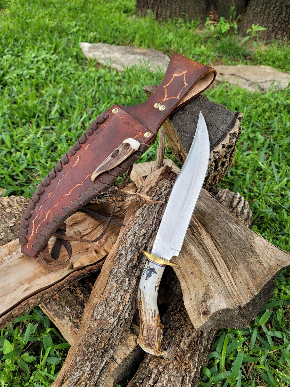 "14"" Ken Richardson Antler Handle Knife with Sheath"