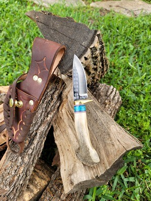 "9"" Ken Richardson Antler Handle Knife with Sheath"