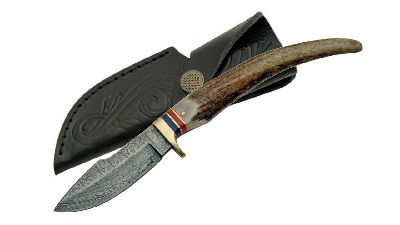 Damascus Stag Grip Handle w/ Sheath