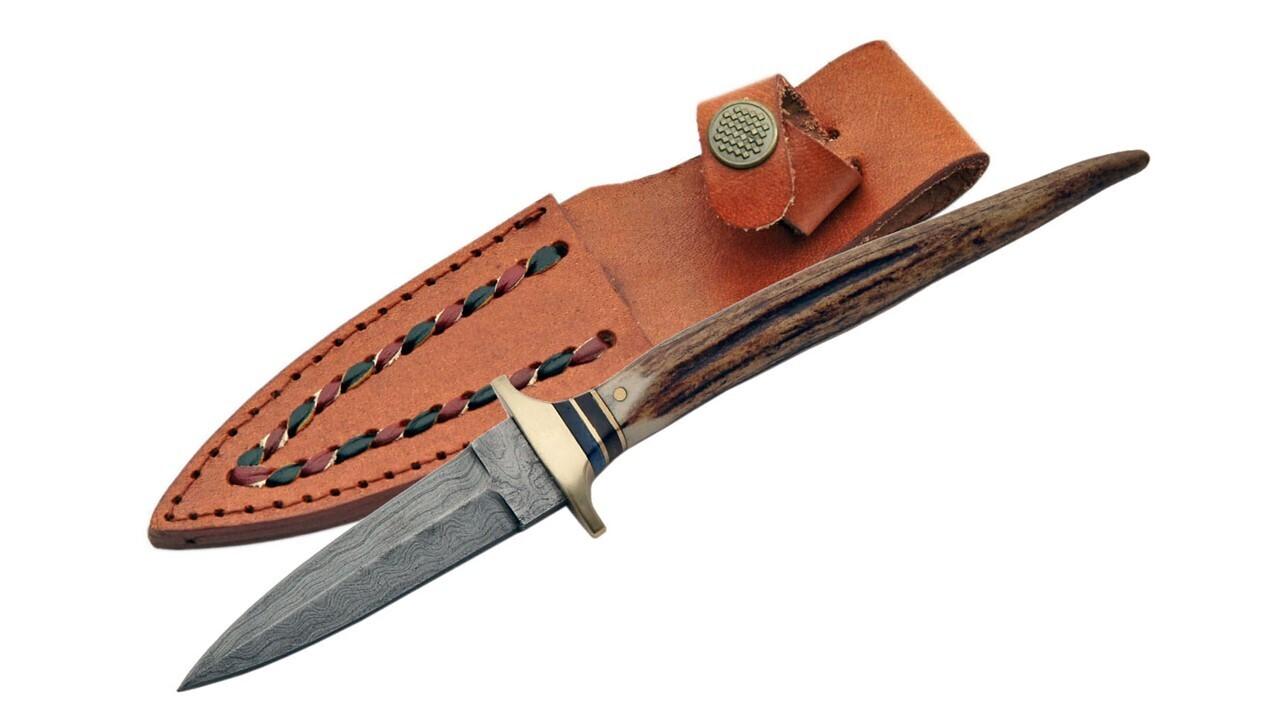 Damascus Dagger Stag Handle w/ Sheath