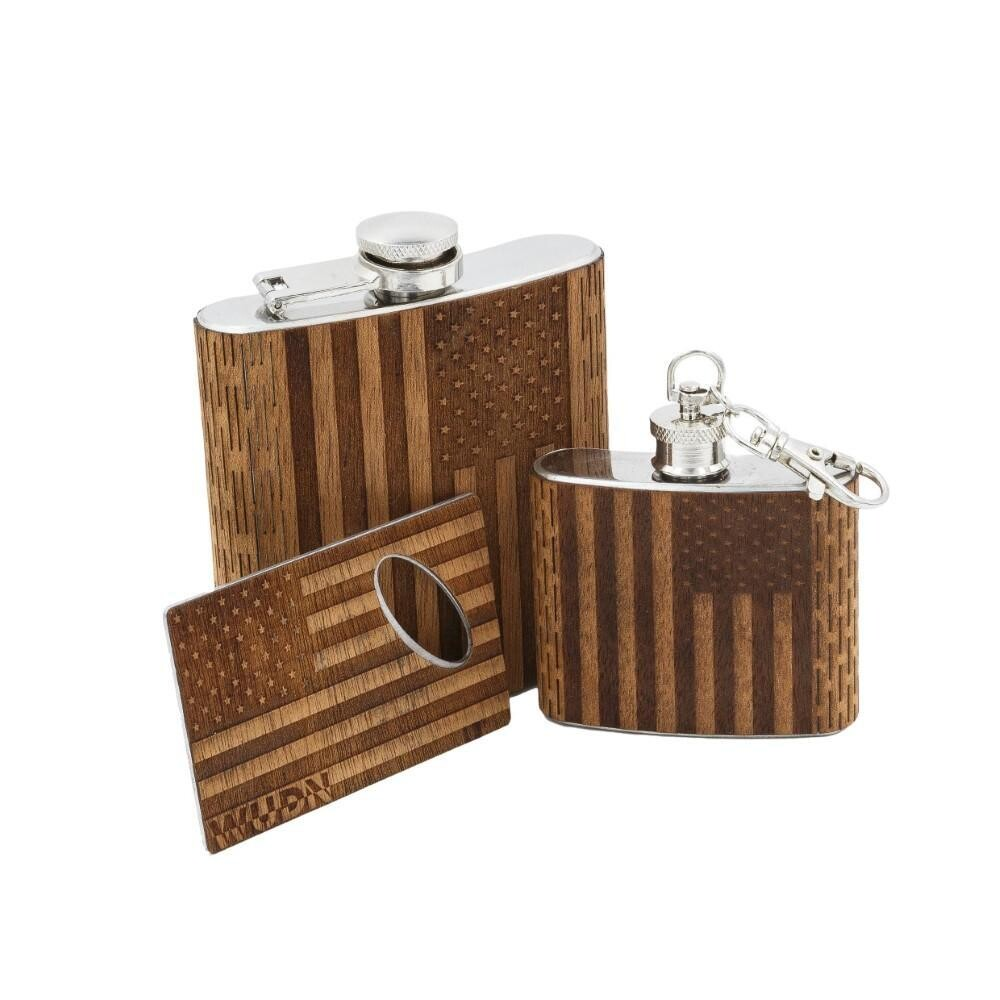 3-Piece Wooden Flask Set (6 oz. Hip Flask, 2 oz. Keychain Flask, Credit Card Bottle Opener)