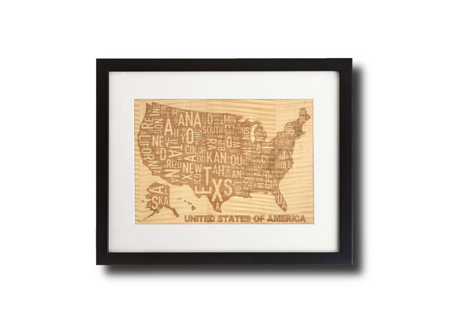 Laser Engraved Wooden Wall Art (USA Map in Shimmering Maple)