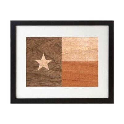 Laser Engraved Wooden Wall Art (Texas Flag in Black Walnut & American Cherry)