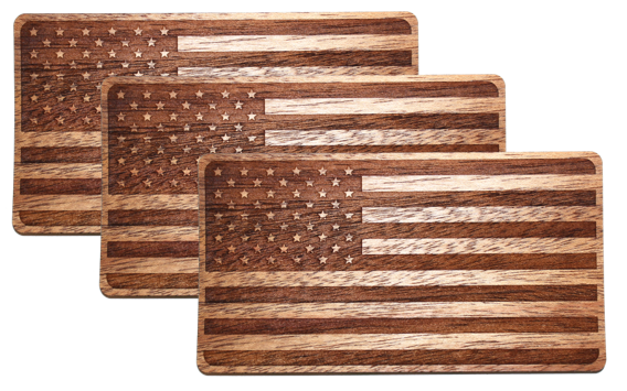 Wooden American Flag Sticker
