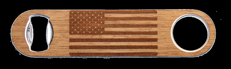 American Flag Wood Industrial Bottle Opener