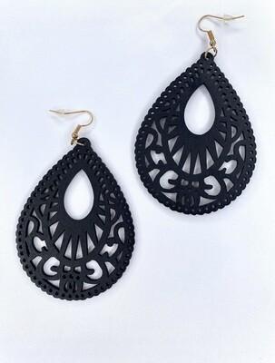 Wooden Teardrop Earring (Black)