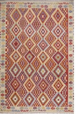Kelim tapijt: rood-beige