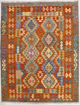 Kelim tapijt: rood-grijs