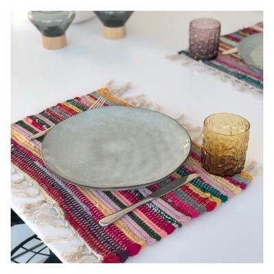 Set van kleurrijke placemats met franjes (2 stuks)