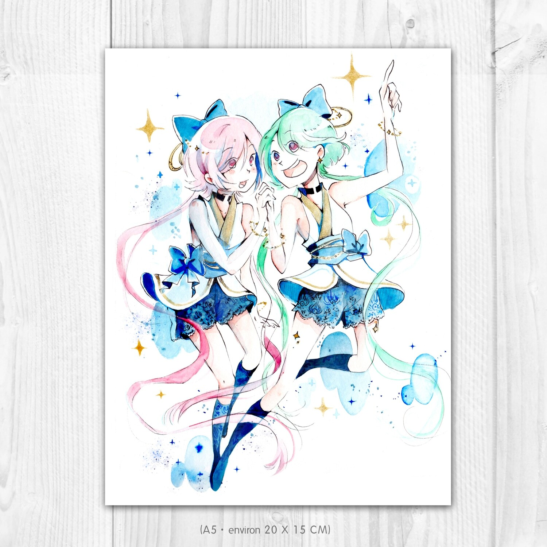 "Dessin original • Yui et Yumi ""Interstellar summer"""