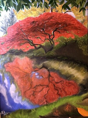 """""""Japonese maple"""" Oil on Canvas 40X30inch"""