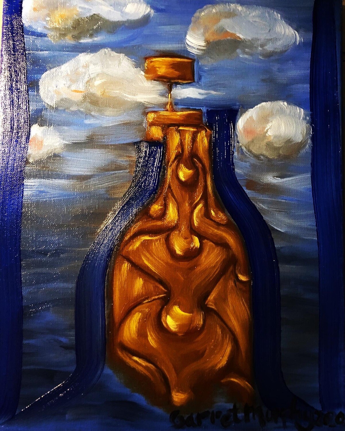 """Message in a bottle"" Oil a la prima on canvas 14X11inch"