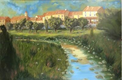 """""""L'etang du village"""" Oil landscape on wood frame 36x24 inch"""
