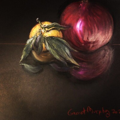 """""""Pomegranate"""" Sennelier oil pastel on Canson paper 12 X 9 inch"""